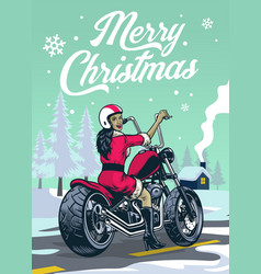 lady biker in santa claus costume at middle vector image