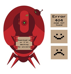 Large alien robot holding signs vector