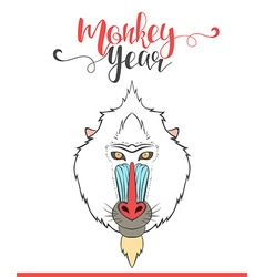 Lettering calligraphy with monkey happy monkey vector