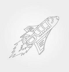 Line art spaceship shuttle symbol design vector