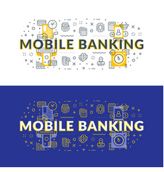 Mobile banking flat line concept for web banner vector