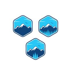 Mountain adventure logo designs vector