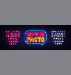 myths facts neon text myths facts neon vector image