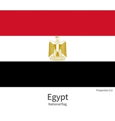 National flag of egypt with correct proportions vector