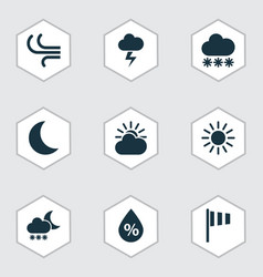 Nature icons set collection of sun breeze night vector