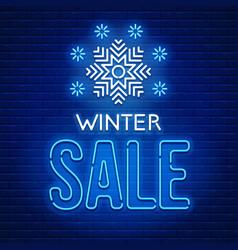 Neon sign winter sale vector