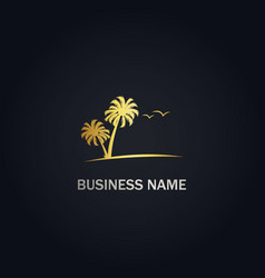 palm tree ocean seagull gold logo vector image