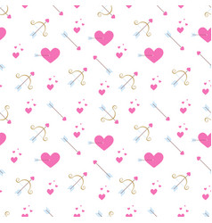 Pattern with pink hearts golden bow and arrows vector