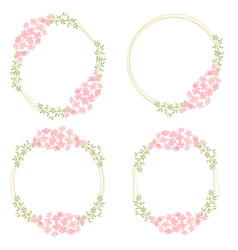 pink cherry blossom flowers wreath with golden vector image