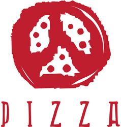 Pizza in peace symbol form design template vector
