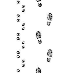 Prints of shoes and dog paws vector