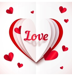 Realistic paper Love sign in folded hearts vector