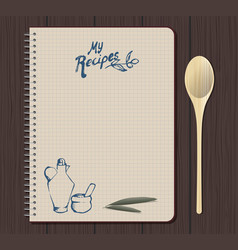 recipe notebook graph with hand drawn text oilcan vector image