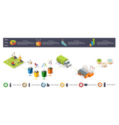 Recycling garbage process isometric infographic vector