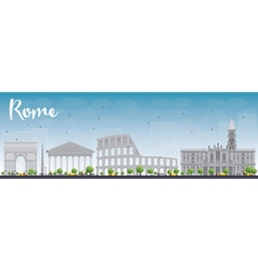 Rome skyline with grey landmarks vector