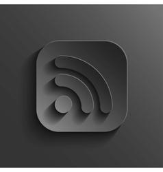 RSS icon - black app button vector