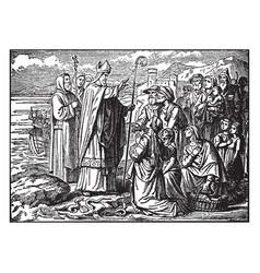 Saint patrick blesses the irish and banishes vector