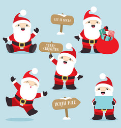 santa claus in fun poses christmas set 4 vector image vector image