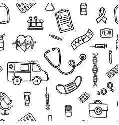 seamless pattern hand drawn doodle medicine vector image