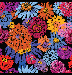 seamless pattern of wildflowers sketches vector image