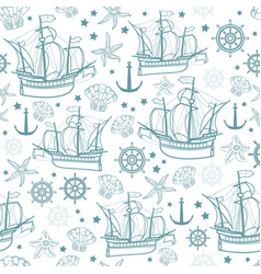 seamless pattern on the marine-themed vector image