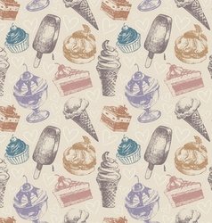 Seamless pattern with ice cream and cakes vector image
