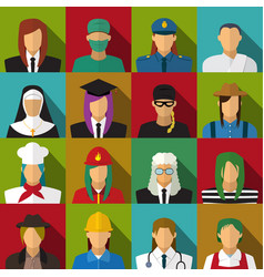 set of 16 woman job icons in flat with long shadow vector image