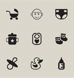 set of 9 editable infant icons includes symbols vector image