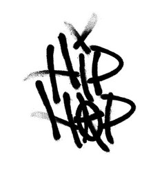 Sprayed hip hop font with overspray in black over vector