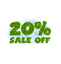 Spring sale 20 percent off letters and figures vector