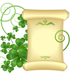 St Patricks day invitation with parchment scroll vector image
