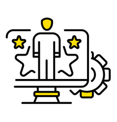 Star web person icon outline style vector