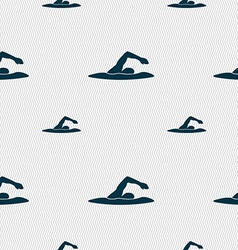 swimmer icon sign Seamless pattern with geometric vector image