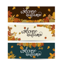 three autumn nature banners with colorful leaves vector image