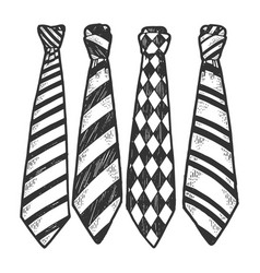 tie set sketch engraving vector image
