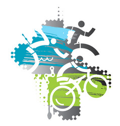 Triathlon race grunge stylized vector