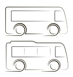 Two black coaches contours image vector
