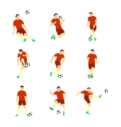 various football soccer player set vector image