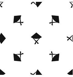 Vietnamese hat pattern seamless black vector