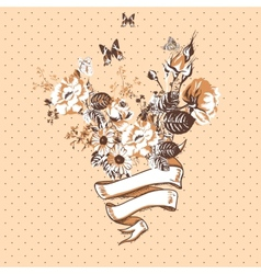 Vintage Floral Card with Ribbon vector