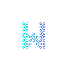 W circuit technology letter and number logo icon vector