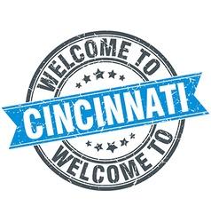 Welcome to Cincinnati blue round vintage stamp vector