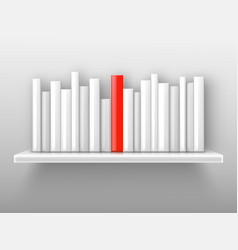 white books and red one on shelf vector image