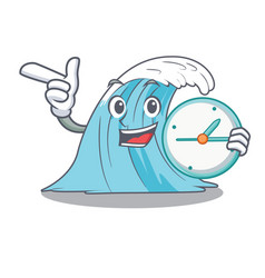 With clock waves of water graphic character vector