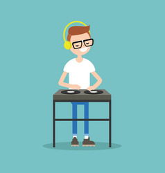 Young nerd wearing headphones and scratching a vector