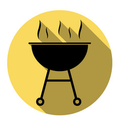 barbecue simple sign flat black icon with vector image