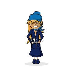 Cute Stewardess Cartoon vector image vector image