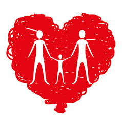family together inside of heart vector image