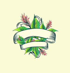 vintage ribbon tropic turmeric floral design vector image