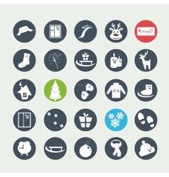 white Christmas icons vector image